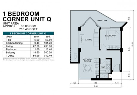 1 Bedroom Corner Unit Q